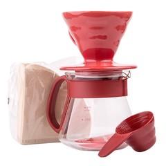 Hario set V60 červený (driper+zásobník+filtry)